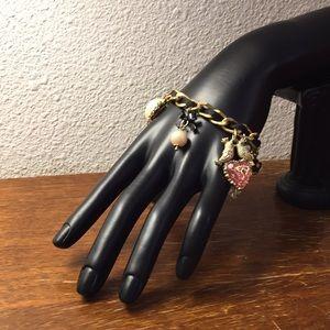 Betsey Johnson heart charm bracelet